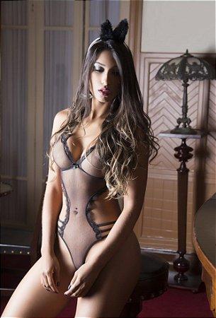 Fantasia Feminina Coelha Sapeca com Body e Tiara