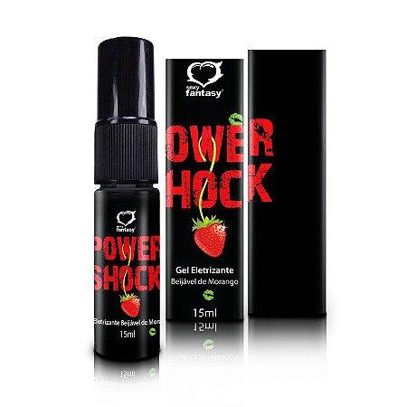 Vibrador líquido beijável Power Shock Gel Eletrizante morango