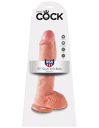 """Dildo com escroto King Cock 10"""" Pele Branca (20,3 x 4,2 cm)"""