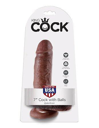 """Dildo com escroto King Cock 7"""" Pele Negra (16,5 x 4,6 cm)"""