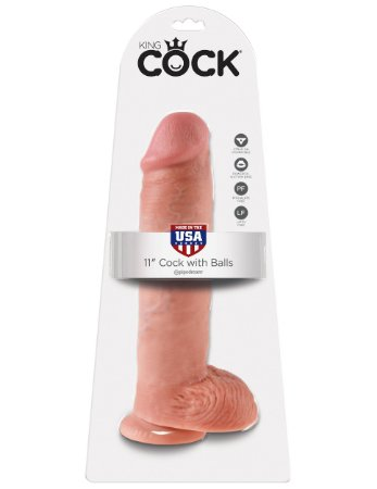 """Dildo com escroto King Cock 11"""" Pele Branca (22,5 x 6,4 cm)"""