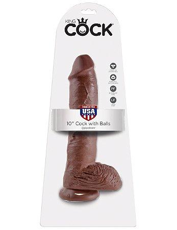 """Dildo com escroto King Cock 10"""" Pele Negra (20,3 x 5,1 cm)"""