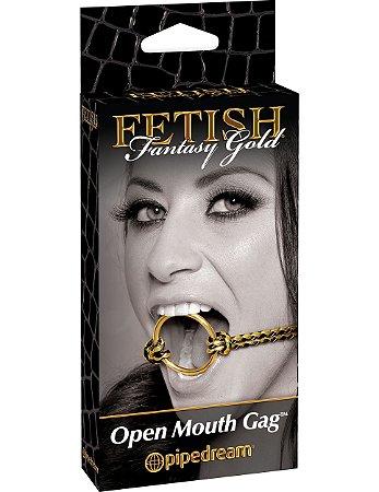 Mordaça com Anel Open Mouth Gag Fetish Fantasy Gold