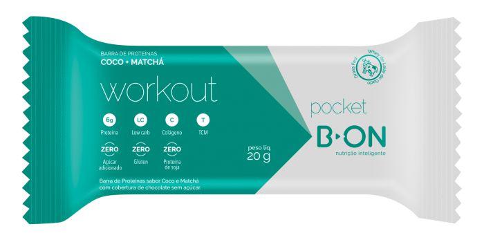 16 Barrinhas Pocket Workout Coco Matcha 20g B-On