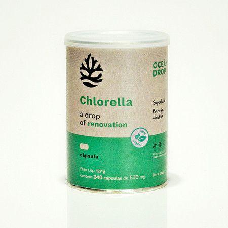 Chlorella 100% Vegetal 240 Cápsulas 530mg 127g Ocean Drop