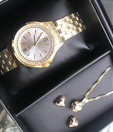 7ff1f255878 Kit Relógio Lince Feminino Colar E Brincos R 210 - Produto Pontual
