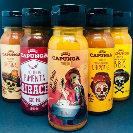 Kit 5 Pimentas (De Puta Madre, Chipotle, BBQ, Original, Sriracha)