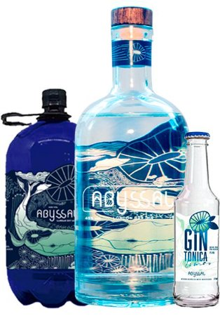COMBO GIN ABYSSAL 750ml + 1 LITRO GIN ABYSSAL REFIL + ABYSSAL GIN TÔNICA 275ML