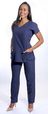 Pijama Cirúrgico Azul Navy Feminino