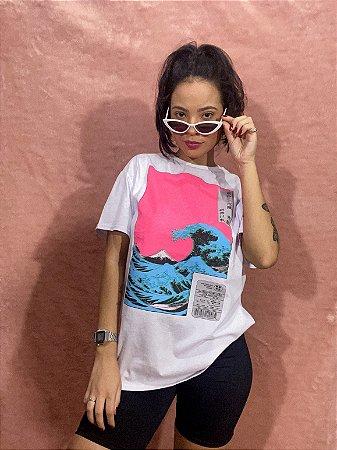 Camiseta Pink Wave - Branca