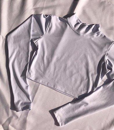 Cropped Gola Alta Manga Longa - Branco