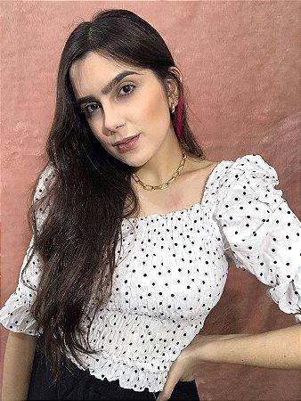 Blusa Poá Manga Bufante - Branca