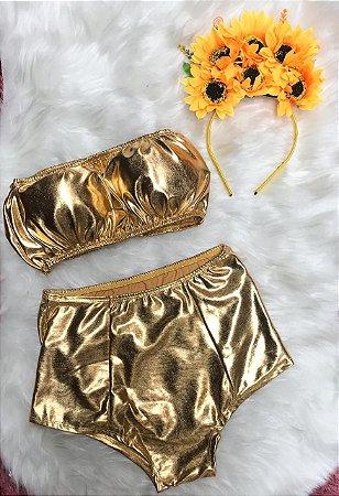 Conjunto Cropped + Hot Pant Dourado