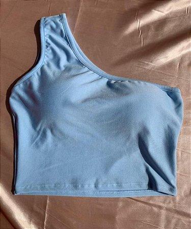 Cropped Ombro Só - Azul Bebê