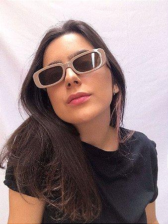 Óculos de Sol Retangular - Bege