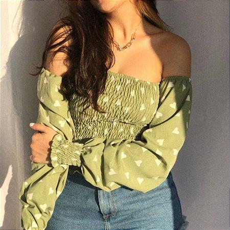 Blusa Ciganinha Manga Bufante - Verde Estampada