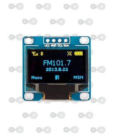 """Display OLED 0.96"""" I2C Azul Amarelo"""