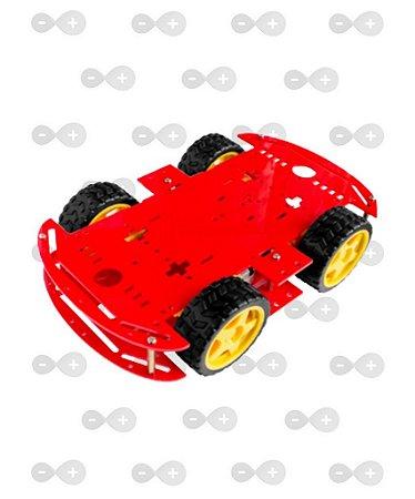 KIT CHASSI 4WD 4 RODAS COM MOTORES BASE VERMELHA ACRILICO 3 MM