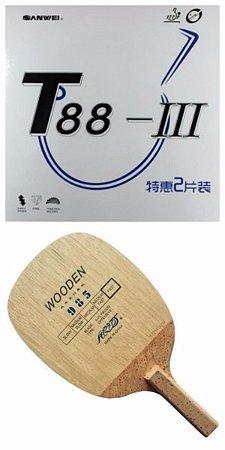 COMBO - Raquete Caneta Yinhe 985 + Borracha Sanwei T88 III + Sidetape