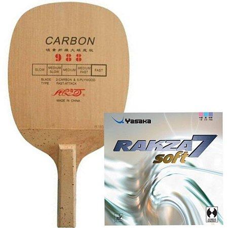 COMBO - Raquete Caneta Carbono Yinhe 988 + Borracha Rakza 7 Soft + Sidetape