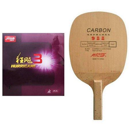 COMBO - Raquete Caneta Carbono Yinhe 988 + Borracha Dhs Hurricane 3 +  Sidetape
