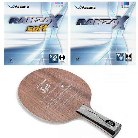 COMBO - Raquete Yasaka Ma Lin Extra Offensive + Borrachas Rakza X Rakza X Soft + Sidetape
