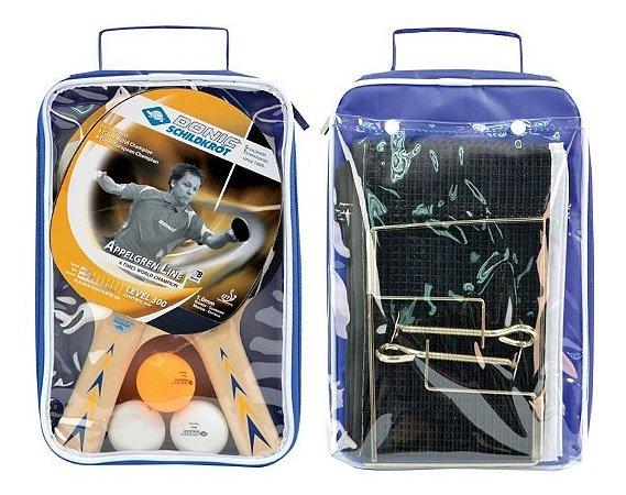 Kit 02 Raquetes Donic Appelgren 300 + 03 Bolas + Rede Suporte Completo
