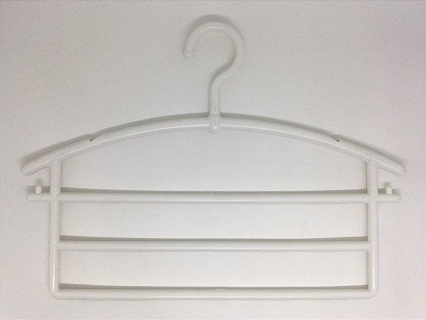 Cabide Plástico Calceiro Triplo Branco
