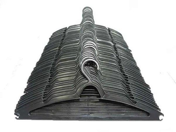 Cabide Plástico Chato Preto - 10 unid