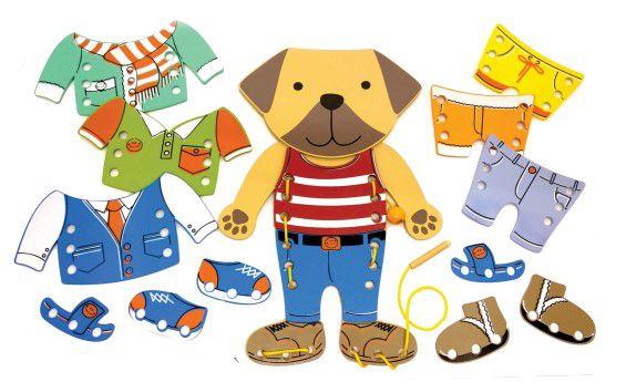 Brinquedo para Coordenação Motora Alinhavo de Madeira - Cão