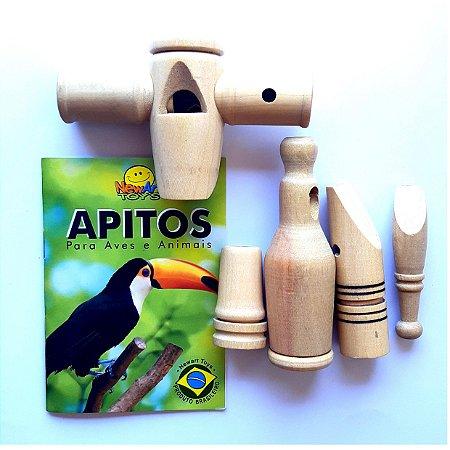 Apitos com sons de pássaros - 5 apitos + CD