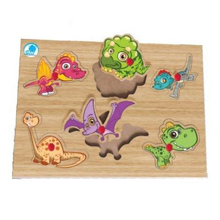 Quebra-cabeça com pinos - dinos - brinquedo educativo