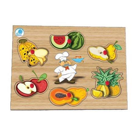 Quebra-cabeça com pinos - salada de frutas - brinquedo educativo