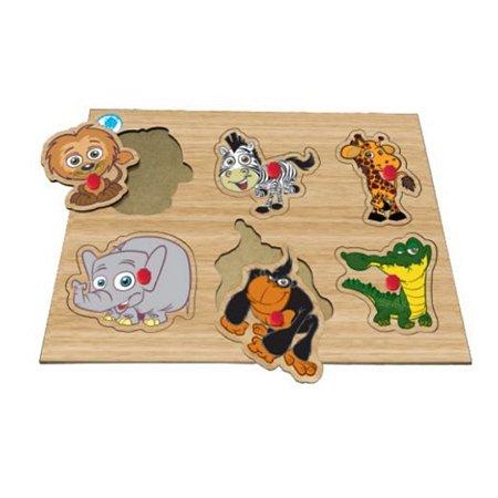 Quebra-cabeça com pinos - animais selvagens – brinquedo educativo