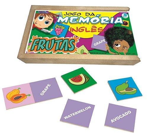 Brinquedo Educativo Jogo da memória de frutas em inglês