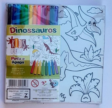 Tela para Pintura Infantil - Tela de Pintar e Apagar Dinossauros