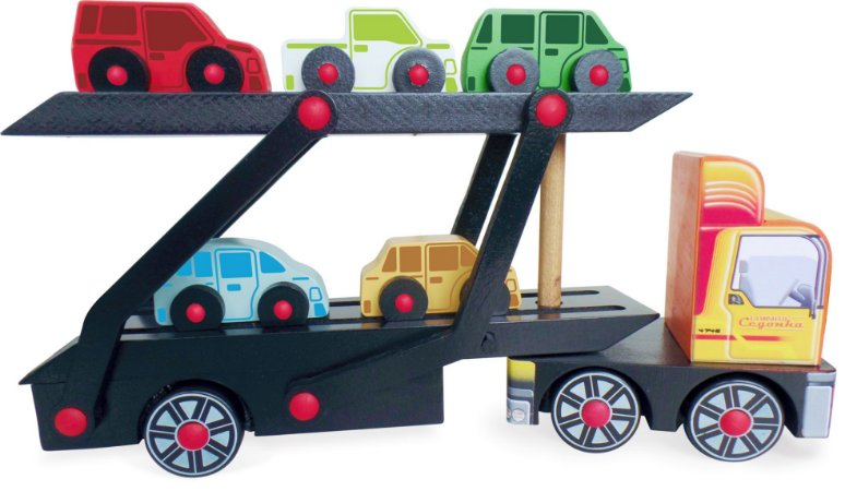 Brinquedo Educativo de Madeira - Caminhão Cegonha