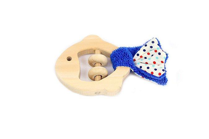 Brinquedos Sensoriais para Bebês em Madeira e Tecido - Peixe