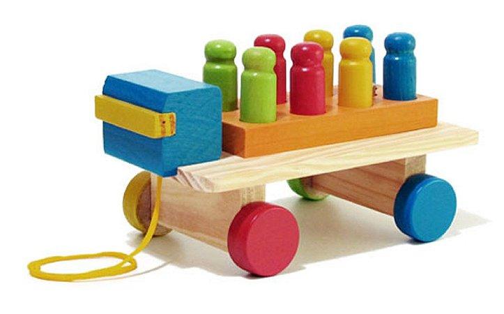 Brinquedo Educativo Caminhão com Pinos de Madeira