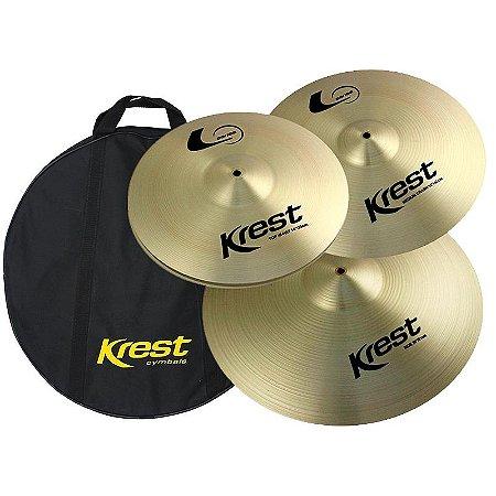 "Kit De Pratos Krest L Series Lset1 (Hi Hat 14"" Medium Crash 16"" Ride 20"") Com Bag"