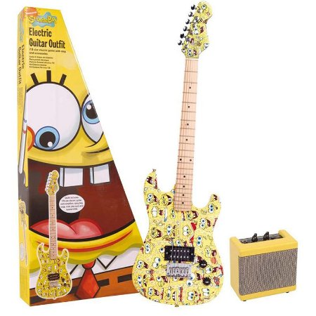 Kit Guitarra Bob Esponja 7/8 Mini Amplificador Cabo Bag E Correia