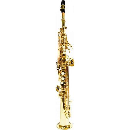 Saxofone Benson Soprano Reto Bssr-1L Bb Laqueado Com Case