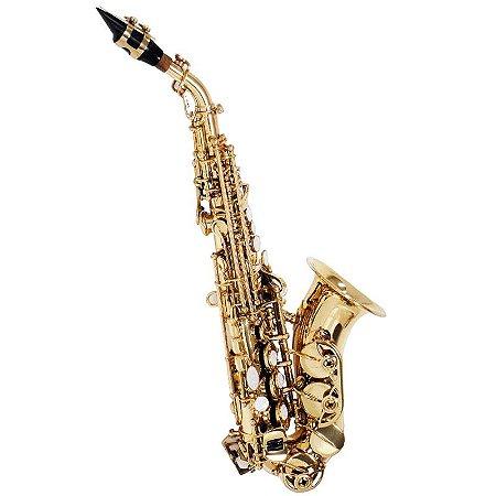 Saxofone Soprano Curvo Shelter Tjs64331l Laqueado Em Bb Com Case