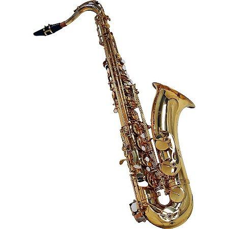 Saxofone Tenor Shelter Sgft6435l Laqueado Dourado Em Bb Com Estojo
