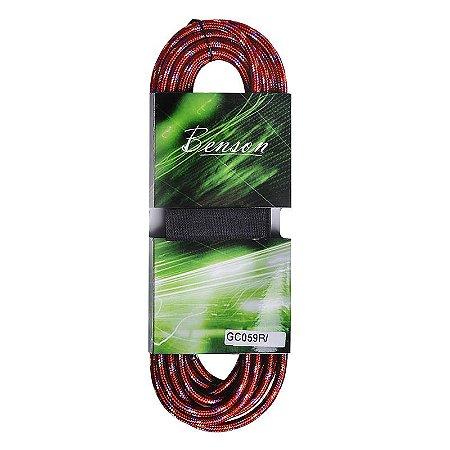Cabo Para Instrumentos Benson GC059R P10 10m Têxtil Vermelho