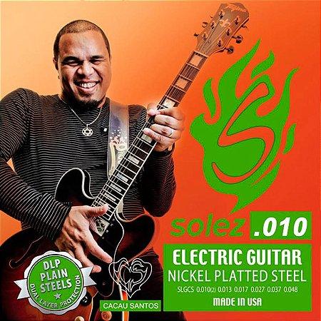 Encordoamento Guitarra 010 Solez Cacau Santos Cordas Slg Cs