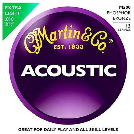 Encordoamento Martin Para Violão 12 Cordas 010 M500