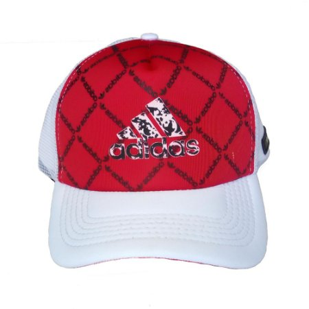 Boné Adidas Trucker Aba Curva Vermelho e Branco