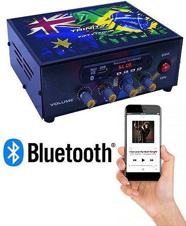 Amplificador de Mesa Trinity Fifty Four 200W RMS com Bluetooth Usb 4 Canais para Celular Festa Som Gospel Funk