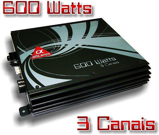 Amplificador Alfa Amps 600W RMS 3 Canais para Subwoofer Driver Super Tweeter 6X9 Kit 2 vias
